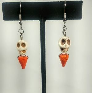 Jewelry - White Skull & Orange Spike Stone Bead Earrings